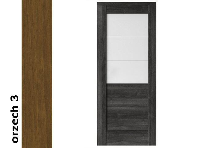 Drzwi przesuwne bezprzylgowe okleina Dur orzech 3 B6 90 pochwyt okrągły srebrny Verte
