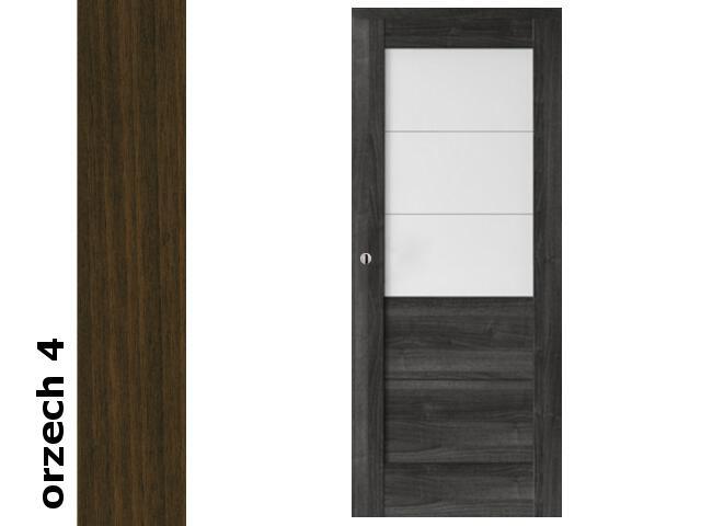 Drzwi przesuwne bezprzylgowe okleina Dur orzech 4 B3 70 pochwyt okrągły srebrny Verte