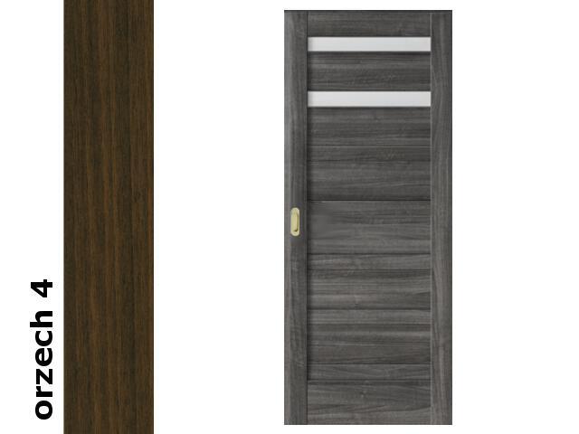 Drzwi przesuwne bezprzylgowe okleina Dur orzech 4 D2 80 pochwyt podłużny złoty Verte