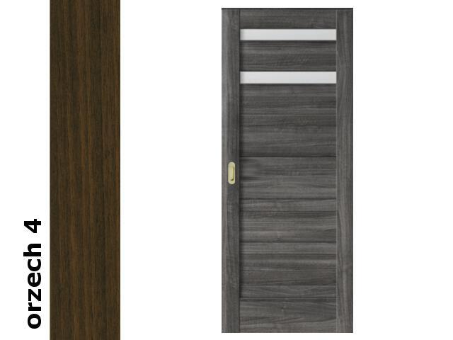 Drzwi przesuwne bezprzylgowe okleina Dur orzech 4 D2 90 pochwyt podłużny złoty Verte