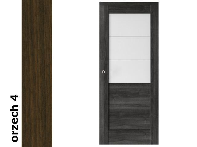 Drzwi przesuwne bezprzylgowe okleina Dur orzech 4 B3 80 pochwyt okrągły srebrny Verte