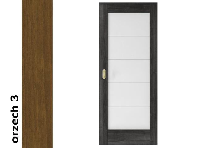 Drzwi przesuwne bezprzylgowe okleina Dur orzech 3 B5 80 pochwyt podłużny złoty Verte