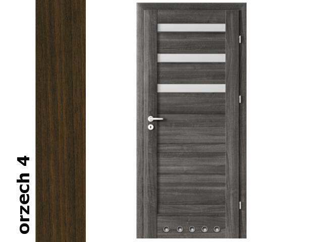 Drzwi okleinowane Dur orzech 4 D3 80 prawe blokada wc tuleje zawiasy złote Verte