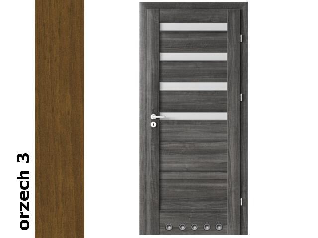 Drzwi okleinowane Dur orzech 3 D4 80 prawe blokada wc tuleje zawiasy srebrne Verte