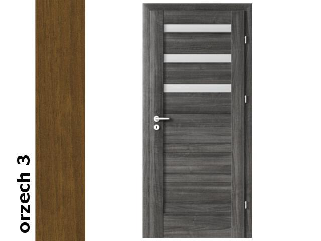 Drzwi okleinowane Dur orzech 3 D3 90 prawe zamek patent zawiasy srebrne Verte