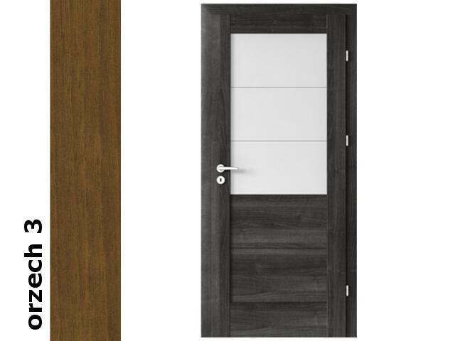 Drzwi okleinowane Dur orzech 3 B3 90 prawe zamek patent zawiasy srebrne Verte