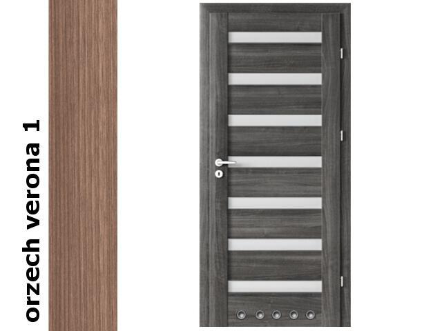 Drzwi okleinowane Decor orzech 1 D7 80 prawe blokada wc tuleje zawiasy srebrne Verte