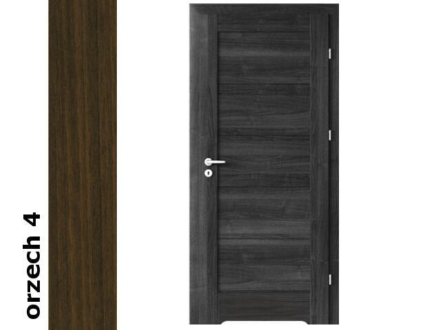 Drzwi okleinowane Dur orzech 4 B0 80 prawe bl. wc podcięcie went. zaw. srebrne Verte