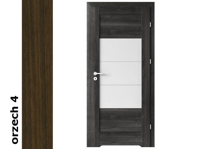 Drzwi okleinowane Dur orzech 4 B7 80 prawe bl. wc podcięcie went. zaw. srebrne Verte