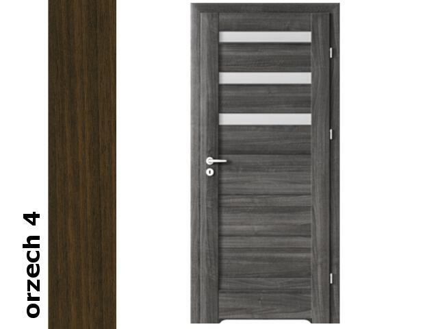 Drzwi okleinowane Dur orzech 4 D3 80 prawe bl. wc podcięcie went. zaw. srebrne Verte