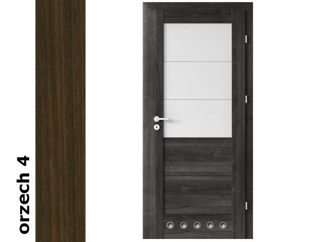 Drzwi okleinowane Dur orzech 4 B3 80 prawe zamek patent tuleje zawiasy srebrne Verte