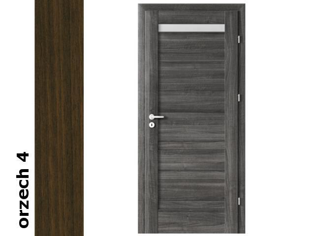 Drzwi okleinowane Dur orzech 4 D1 80 prawe blokada wc zawiasy srebrne Verte