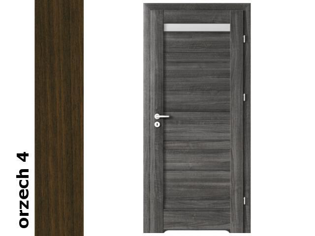 Drzwi okleinowane Dur orzech 4 D1 80 prawe bl. wc podcięcie went. zaw. srebrne Verte