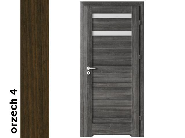 Drzwi okleinowane Dur orzech 4 D2 80 prawe bl. wc podcięcie went. zaw. srebrne Verte