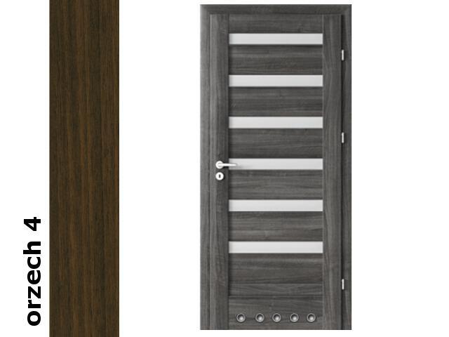 Drzwi okleinowane Dur orzech 4 D6 70 prawe blokada wc tuleje zawiasy srebrne Verte