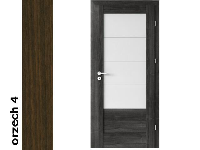 Drzwi okleinowane Dur orzech 4 B4 80 prawe zamek patent zawiasy srebrne Verte