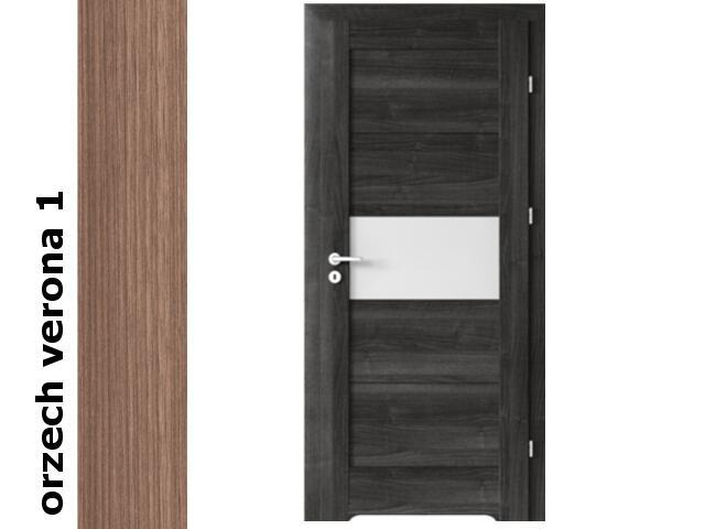 Drzwi okleinowane Decor orzech 1 B6 80 lewe blokada wc podc.went. zaw. srebrne Verte