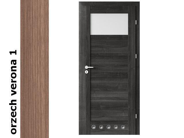 Drzwi okleinowane Decor orzech 1 B1 60 lewe blokada wc tuleje zawiasy srebrne Verte