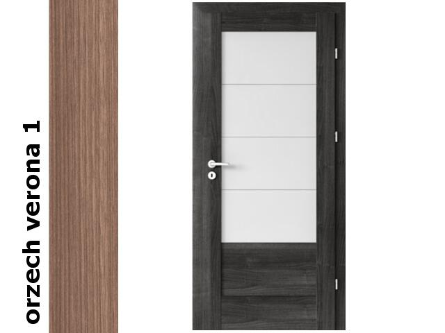 Drzwi okleinowane Decor orzech 1 B4 80 lewe zawiasy srebrne Verte