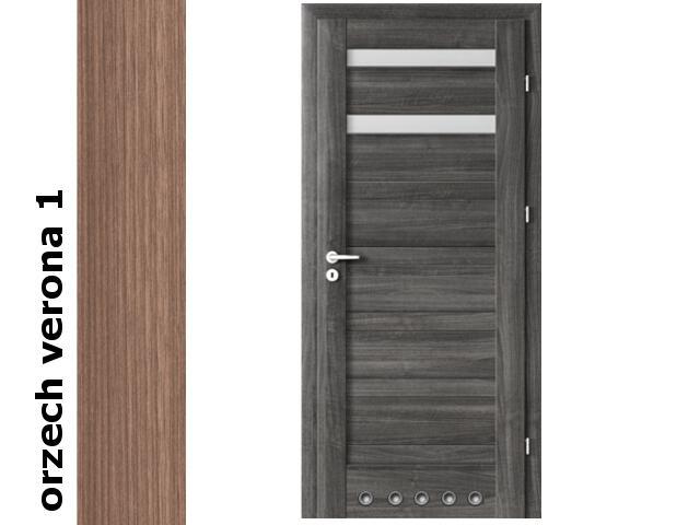 Drzwi okleinowane Decor orzech 1 D2 80 lewe blokada wc tuleje zawiasy srebrne Verte