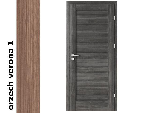 Drzwi okleinowane Decor orzech 1 D0 90 lewe zawiasy srebrne Verte