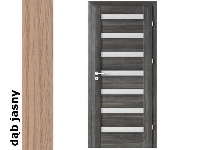 Drzwi okleinowane Decor dąb jasny D7 80 prawe zamek patent zawiasy srebrne Verte