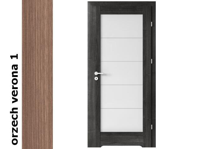 Drzwi okleinowane Decor orzech 1 B5 80 lewe blokada wc podc.went. zaw. srebrne Verte