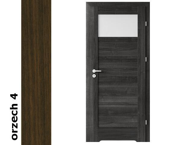 Drzwi okleinowane Dur orzech 4 B1 80 prawe bl. wc podcięcie went. zaw. srebrne Verte