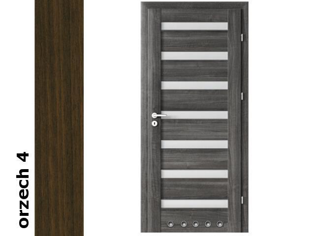 Drzwi okleinowane Dur orzech 4 D7 80 prawe zamek patent tuleje zawiasy srebrne Verte