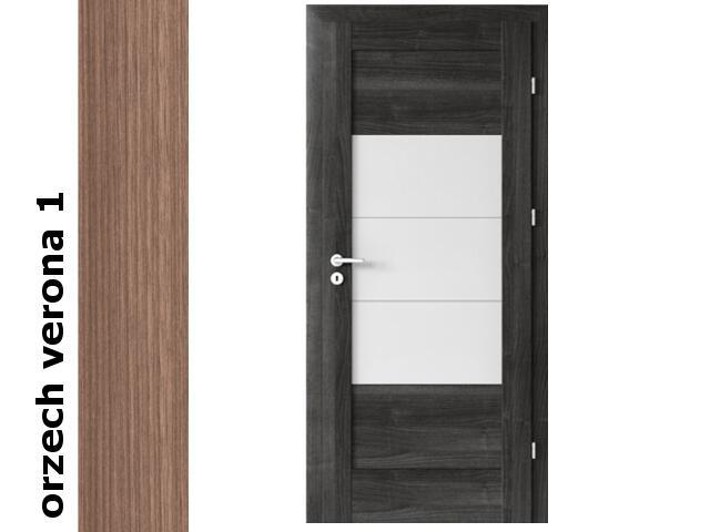 Drzwi okleinowane Decor orzech 1 B7 90 lewe zawiasy srebrne Verte