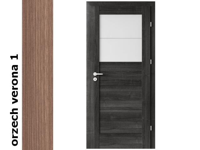 Drzwi okleinowane Decor orzech 1 B2 60 lewe blokada wc zawiasy srebrne Verte