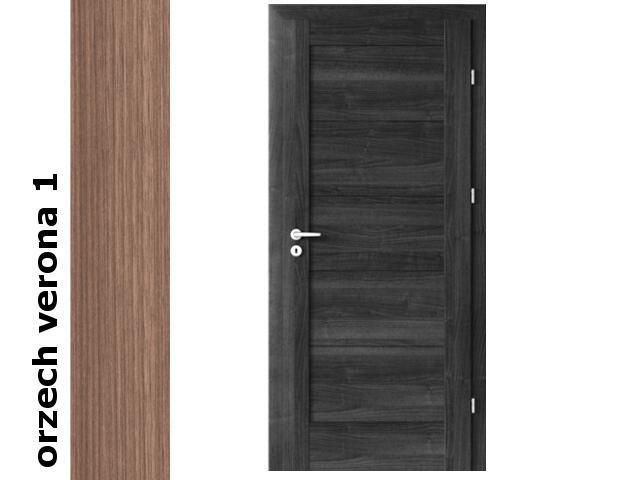 Drzwi okleinowane Decor orzech 1 B0 90 prawe zamek patent zawiasy srebrne Verte