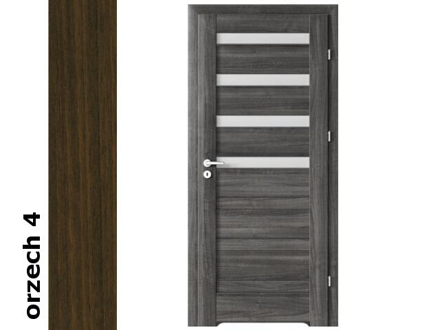 Drzwi okleinowane Dur orzech 4 D4 80 lewe bl. wc podcięcie went. zaw. srebrne Verte