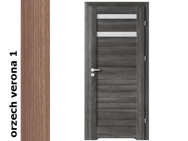 Drzwi okleinowane Decor orzech 1 D2 60 prawe blokada wc podc.went. zaw. srebrne Verte