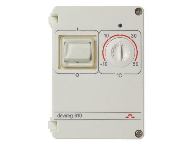 Termoregulator termostat DEVIREG 610 (-10 do +50°C) natynkowy hermetyczny Devi