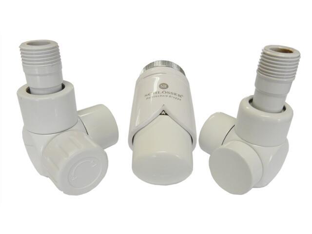 Zestaw grzejnikowy termostatyczny osiowo prawy biały złączka CU Schlosser