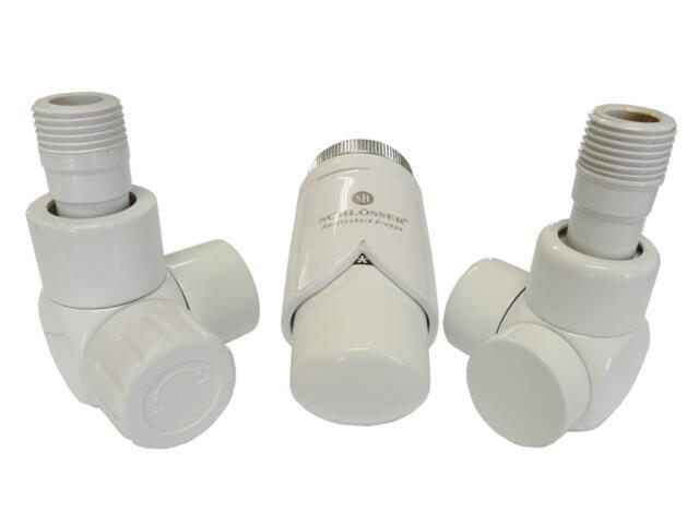 Zestaw grzejnikowy termostatyczny osiowo lewy biały złączka CU Schlosser