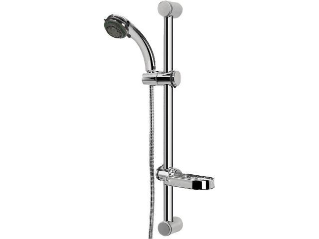 Zestaw prysznicowy z drążkiem AMBER N45S, wąż, słuchawka 5-funkcji, drążek Ferro