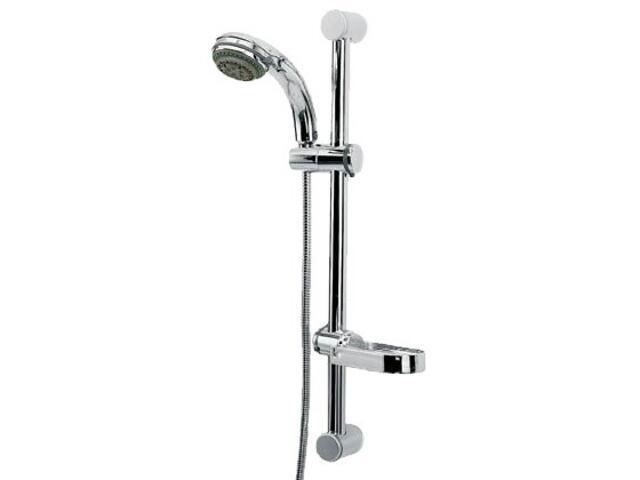 Zestaw prysznicowy z drążkiem AMBER N45 wąż, słuchawka 5-funkcji, drążek chrom Ferro