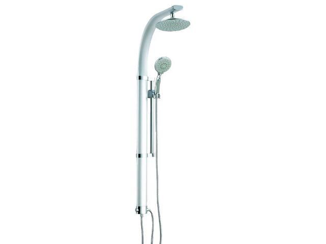 Zestaw prysznicowy z drążkiem GARDA NP2, panel z deszczownicą, wąż, słuchawka, drążek Ferro