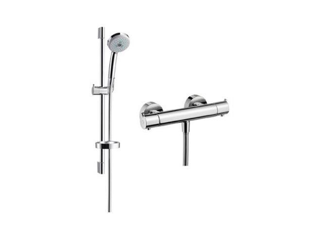 Zestaw prysznicowy Croma 100 Ecostat S Combi z drążkiem chrom 27054000 Hansgrohe