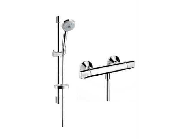 Zestaw prysznicowy Croma 100 Ecostat E Combi z drążkiem chrom 27056000 Hansgrohe