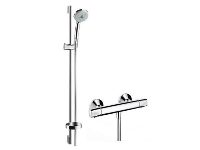 Zestaw prysznicowy Croma 100 Ecostat E Combi z drążkiem 0,90 m chrom 27055000 Hansgrohe