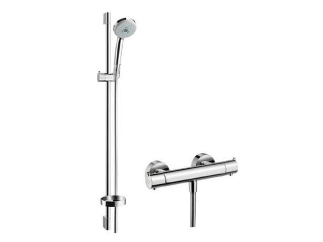 Zestaw prysznicowy Croma 100 Ecostat S Combi z drążkiem 0,90 m chrom 27053000 Hansgrohe