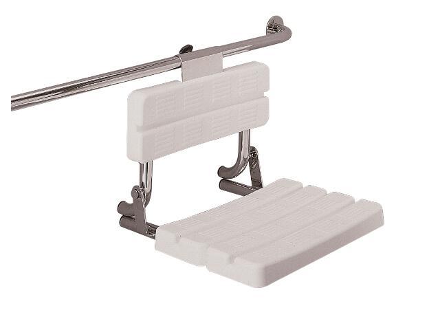 Siedzisko prysznicowe FUNKTION uchylne z oparciem montaż na poręczy stal wypolerowana Lehnen