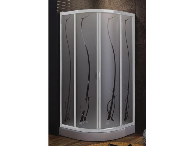 Kabina prysznicowa półokrągła HAVANA 90 profil biały, szkło wzór grass 100-06127 Aquaform
