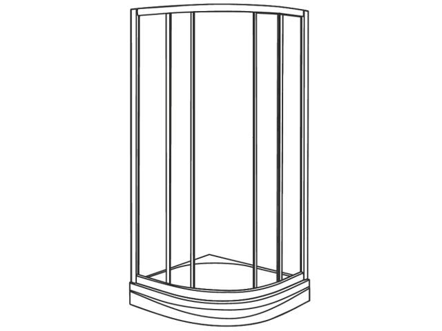 Kabina prysznicowa półokrągła AKCENT PLUS 80cm szkło hart. grafit, poł. LKPG80R04003 Koło