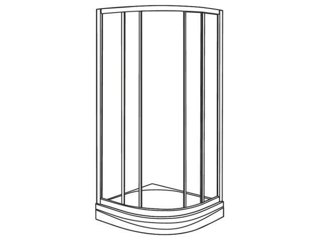 Kabina prysznicowa półokrągła AKCENT PLUS 90cm szkło hart. grafit, poł. LKPG90R04003 Koło
