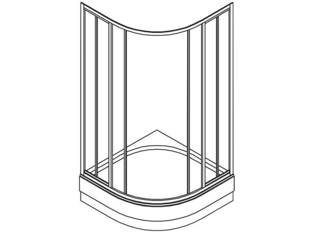 Kabina prysznicowa półokrągła ATOL PLUS 80x80cm szkło hartowane w paski EKPG80200000 Koło