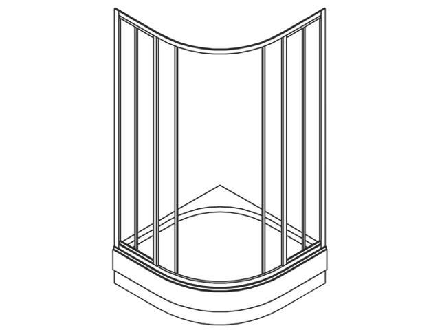 Kabina prysznicowa półokrągła ATOL PLUS 90x90cm szkło hartowane w paski EKPG90200000 Koło